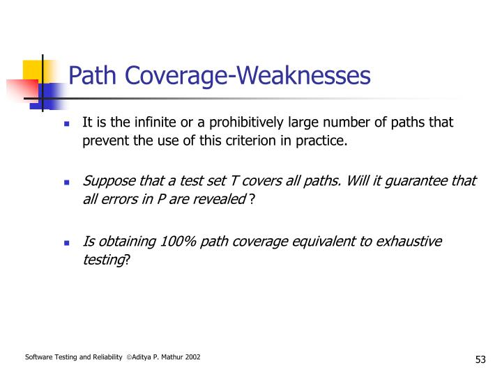 Path Coverage-Weaknesses