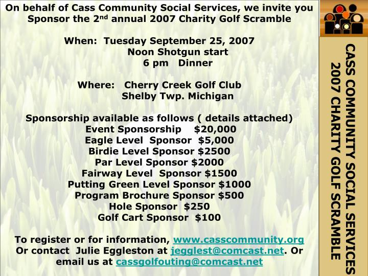 On behalf of Cass Community Social Services, we invite you