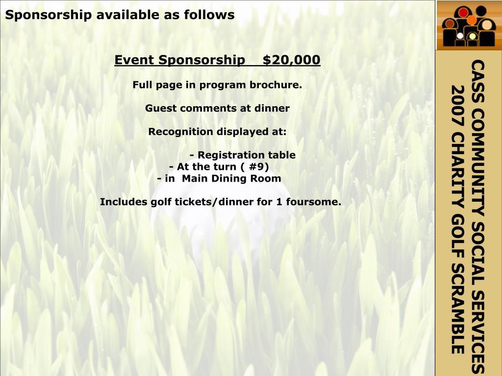 Sponsorship available as follows