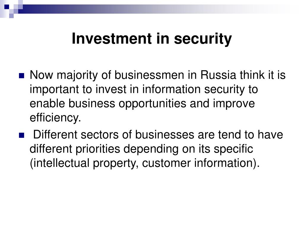 Investment in security
