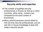 security skills and expertise