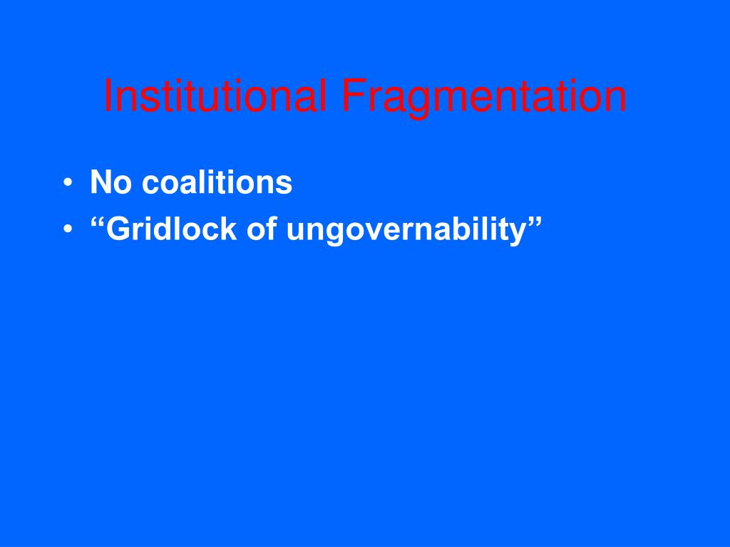 Institutional Fragmentation