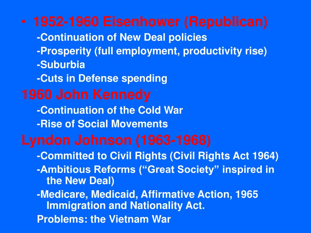 1952-1960 Eisenhower (Republican)
