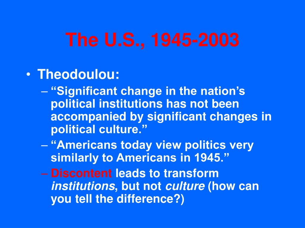 The U.S., 1945-2003