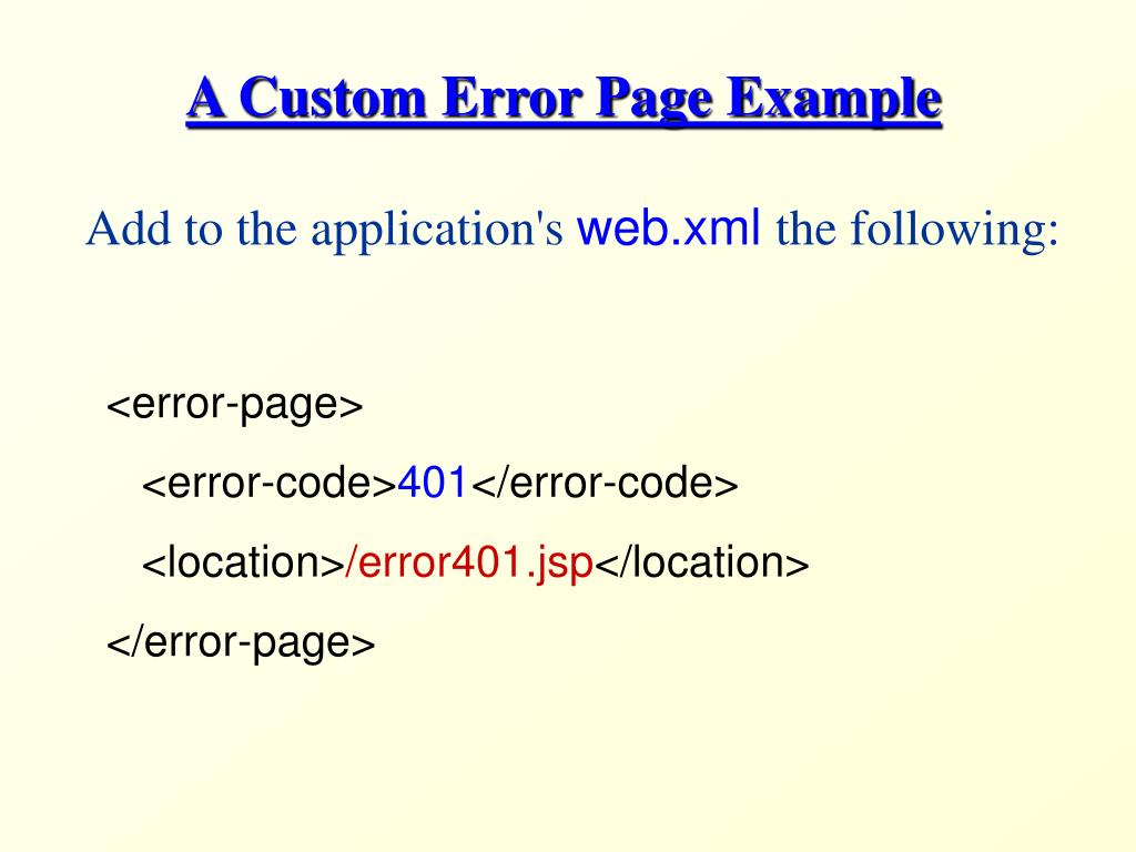 A Custom Error Page Example