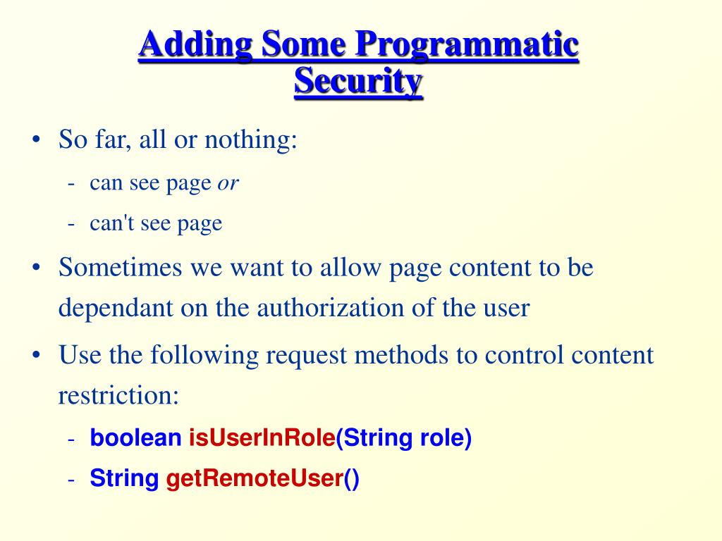 Adding Some Programmatic Security