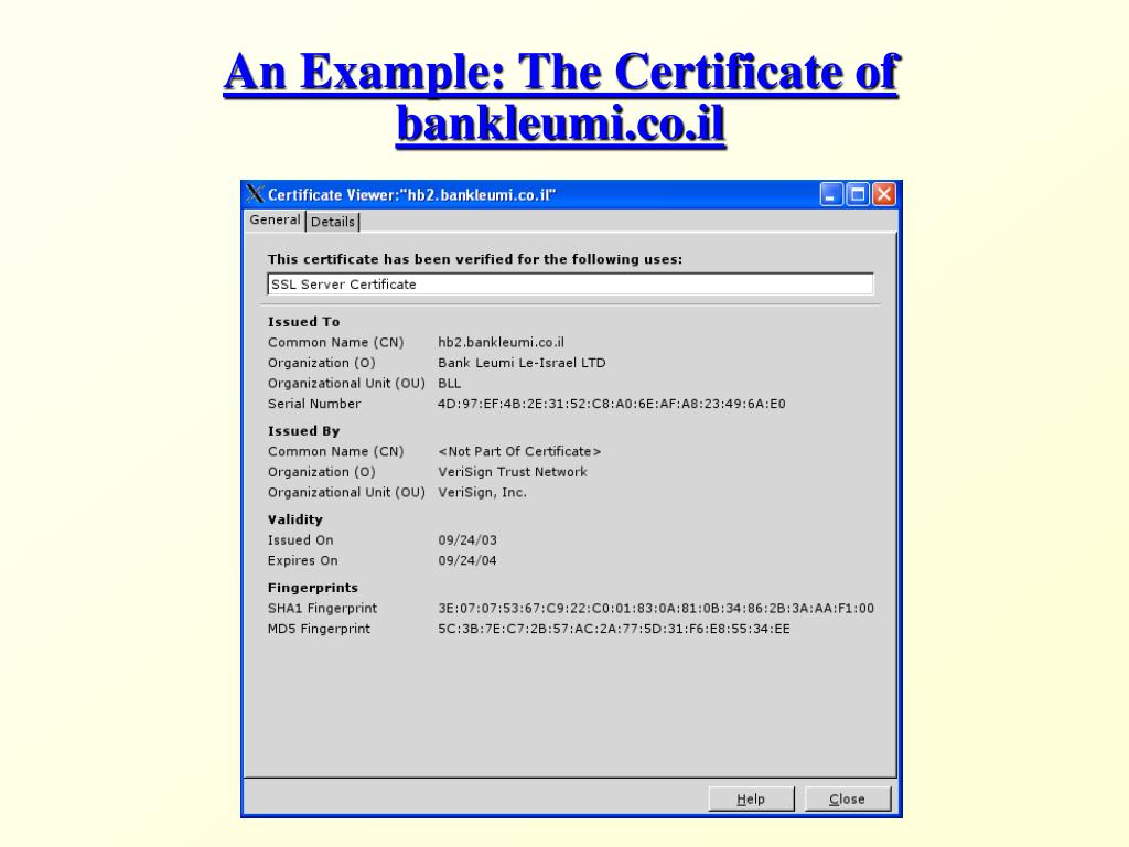 An Example: The Certificate of bankleumi.co.il