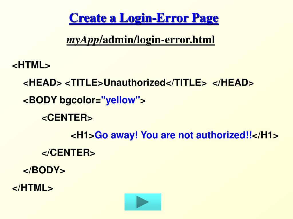 Create a Login-Error Page