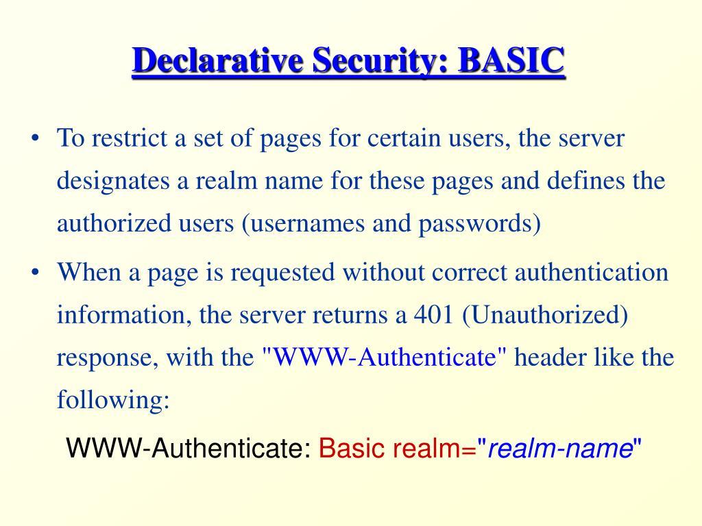 Declarative Security: BASIC