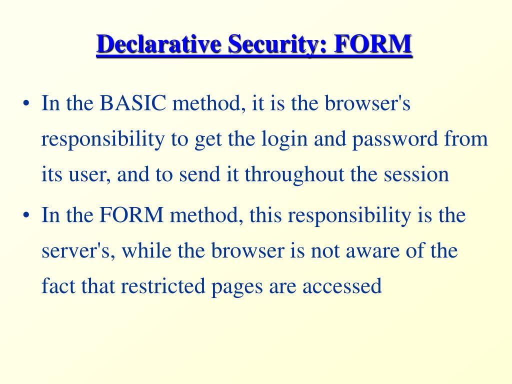 Declarative Security: FORM