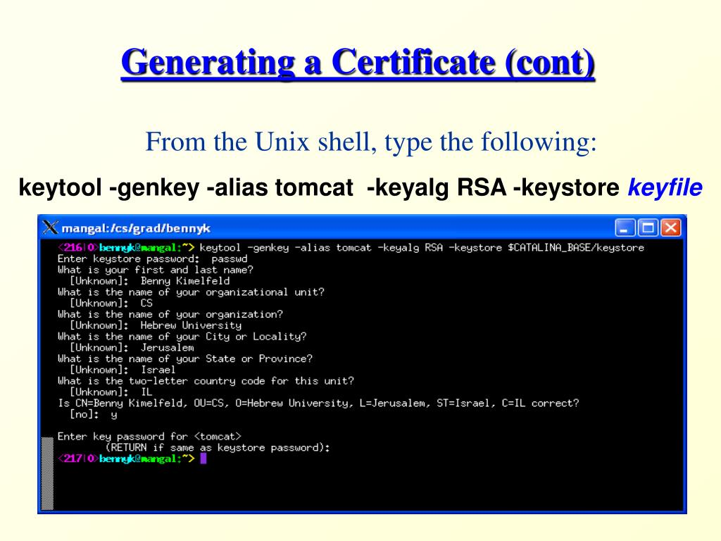 Generating a Certificate (cont)
