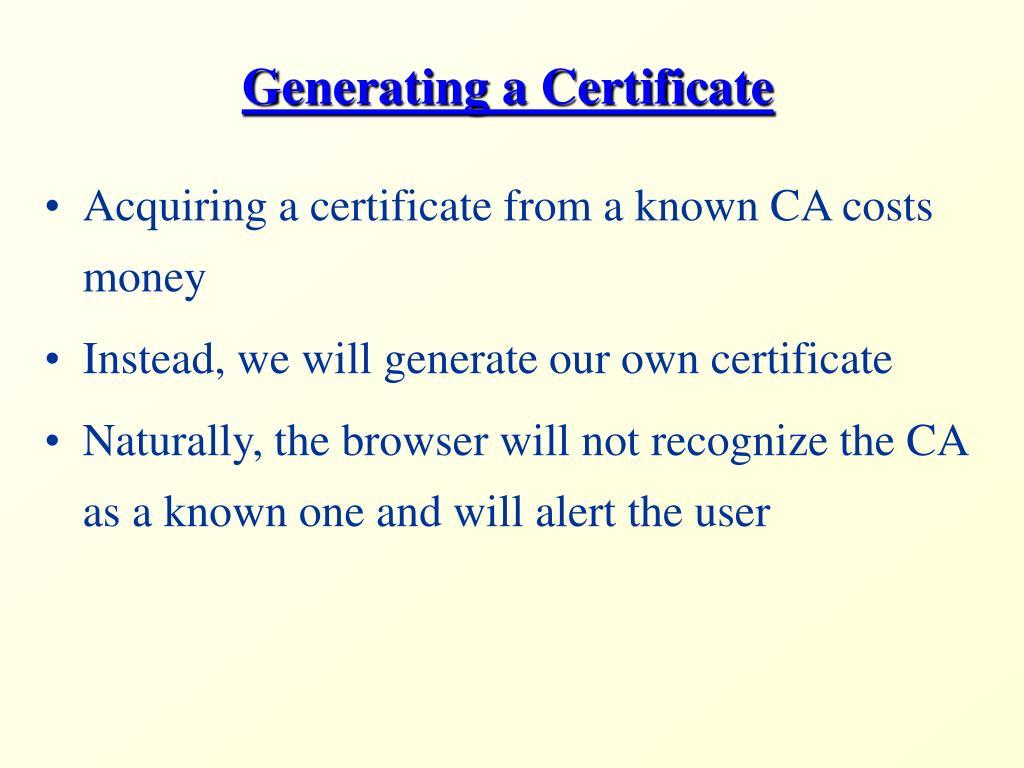Generating a Certificate