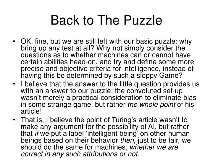 Back to The Puzzle