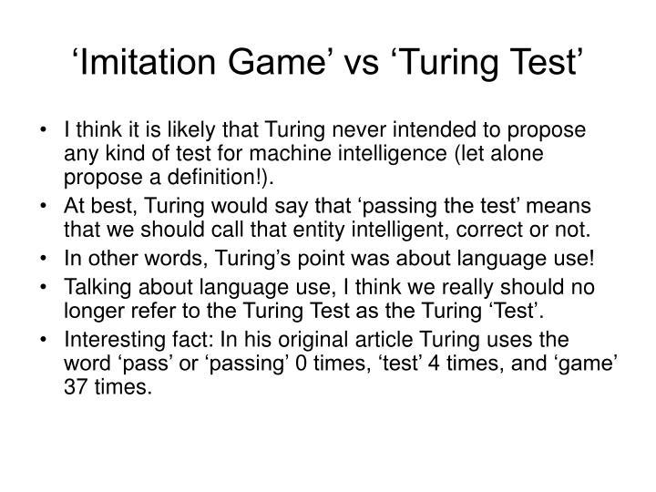 'Imitation Game' vs 'Turing Test'