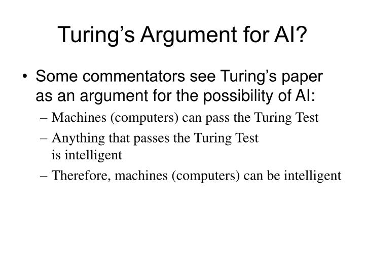 Turing's Argument for AI?