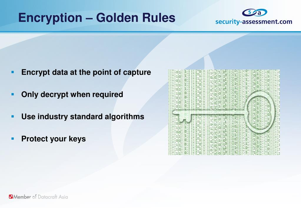 Encryption – Golden Rules