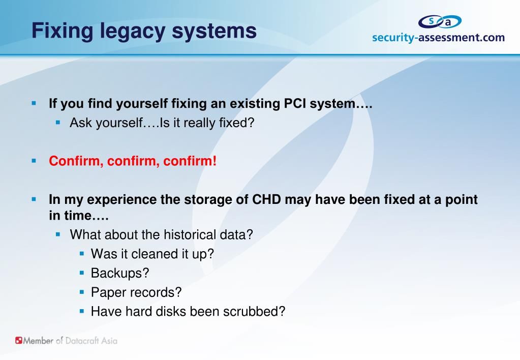 Fixing legacy systems