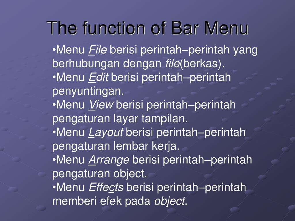 The function of Bar Menu