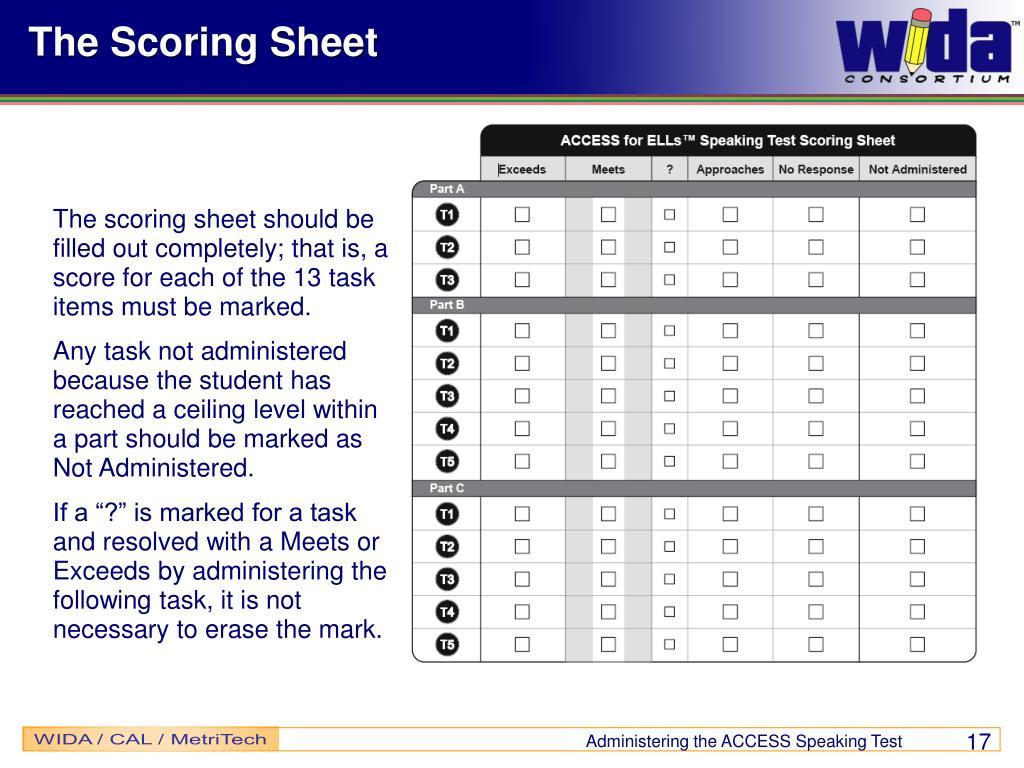 The Scoring Sheet