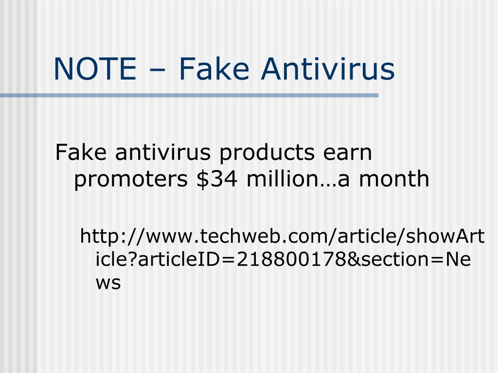 NOTE – Fake Antivirus