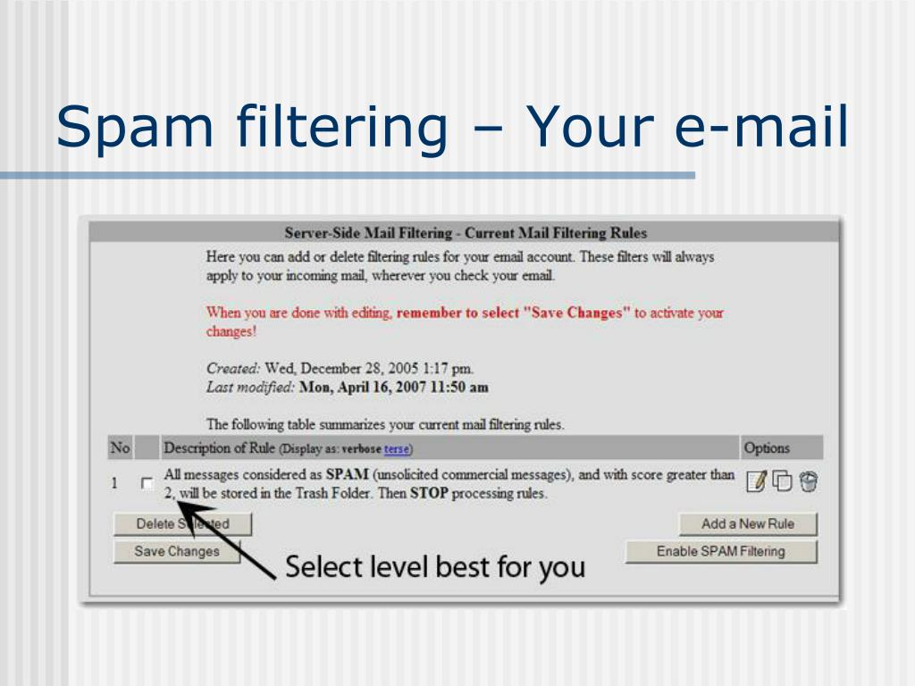 Spam filtering – Your e-mail