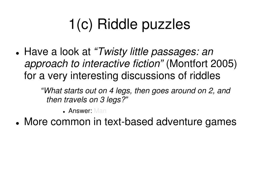 1(c) Riddle puzzles