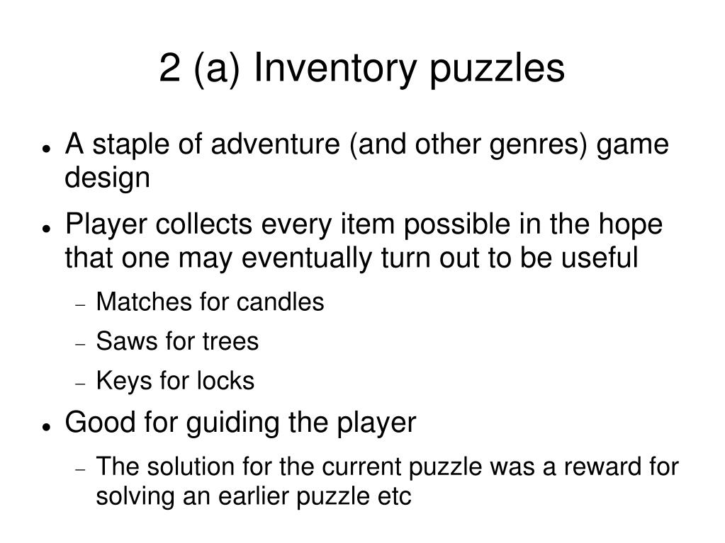 2 (a) Inventory puzzles