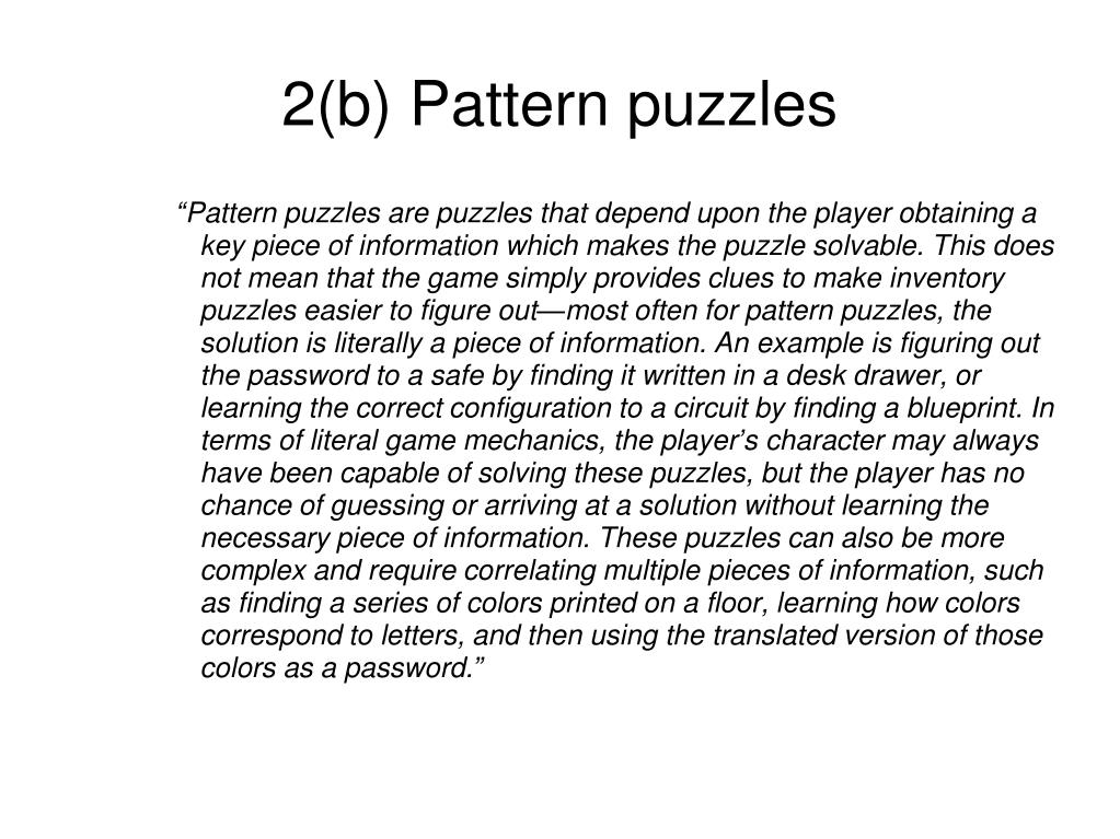2(b) Pattern puzzles