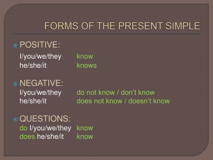 Forms of the present simple