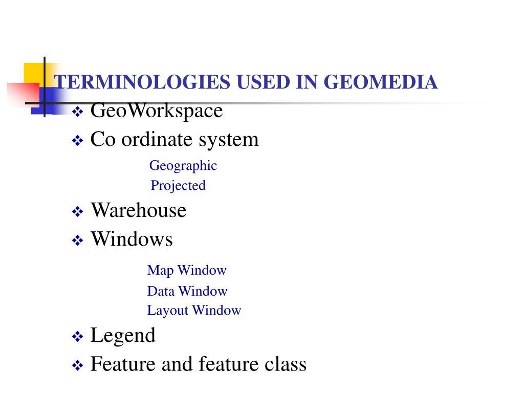 TERMINOLOGIES USED IN GEOMEDIA