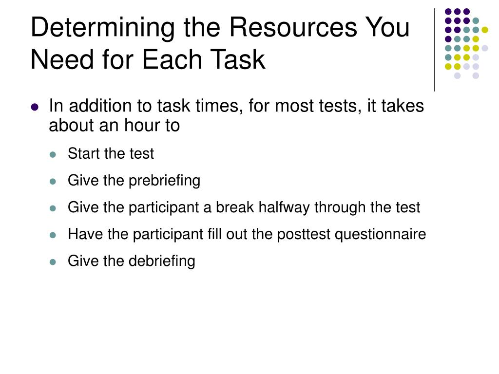Determining the Resources You Need for Each Task