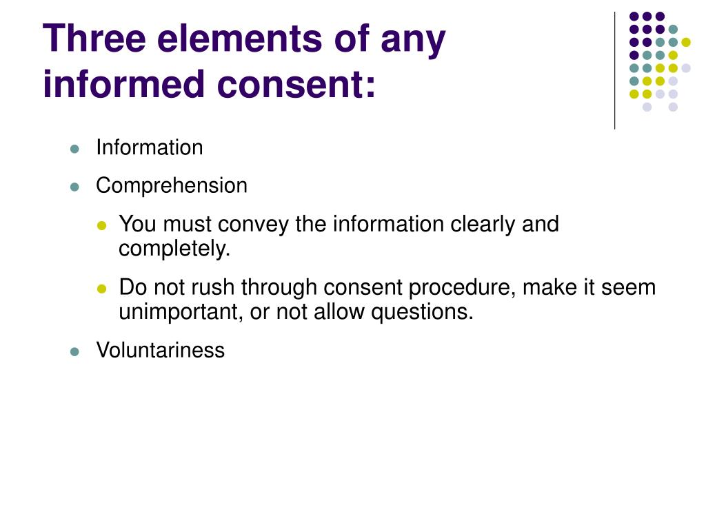 Three elements of any informed consent: