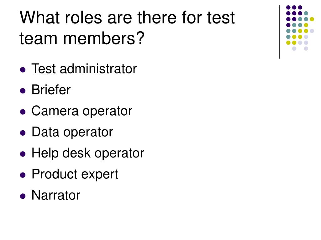 What roles are there for test team members?