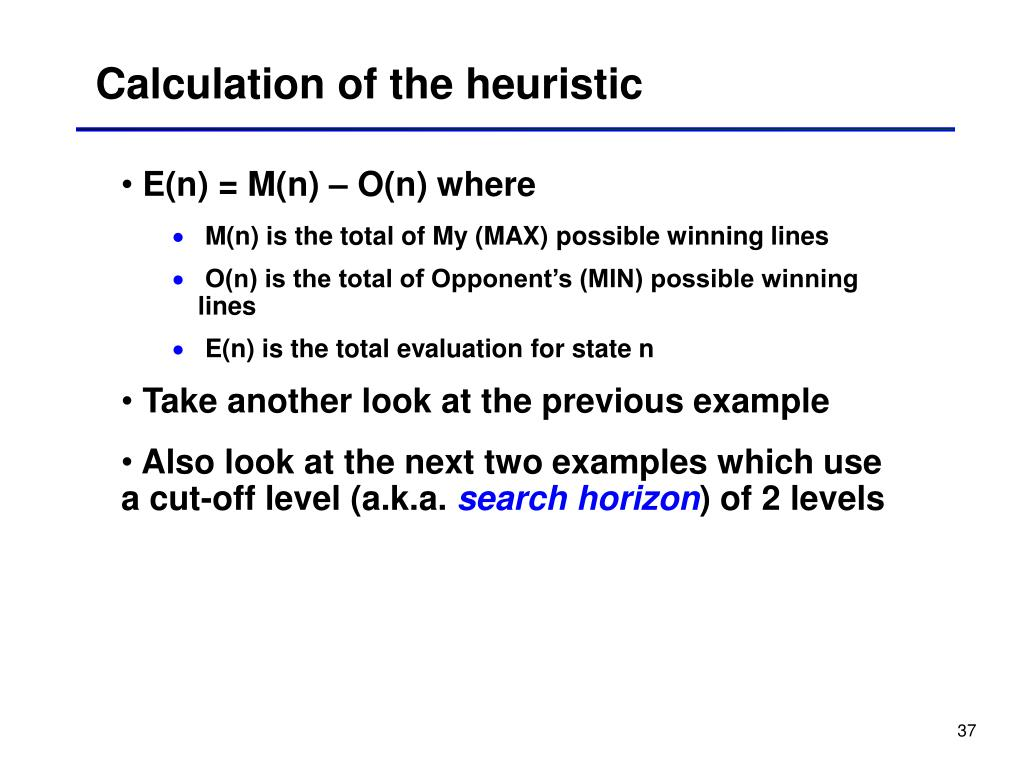 Calculation of the heuristic