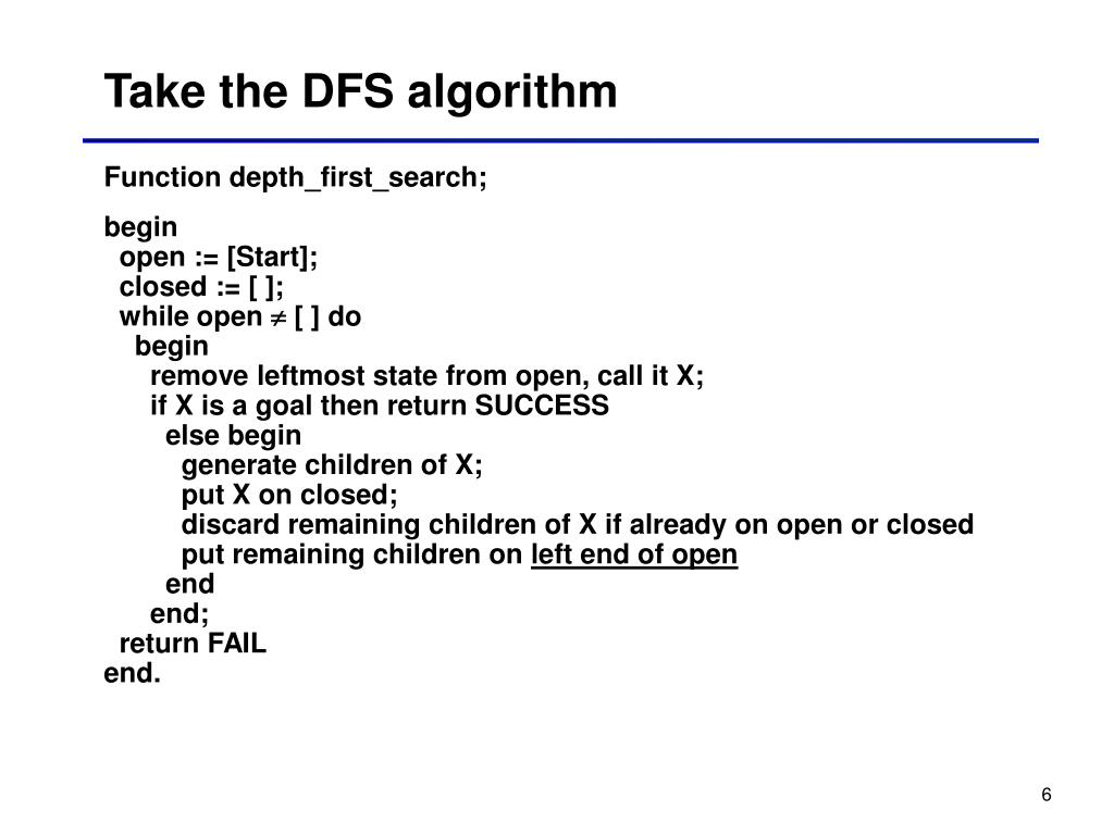 Take the DFS algorithm