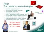 acer the leader in new technologies