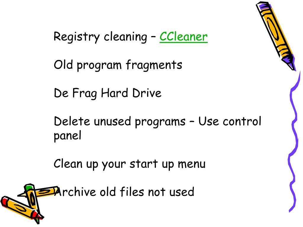 Registry cleaning –