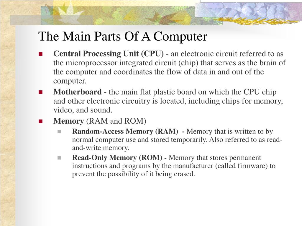 The Main Parts Of A Computer