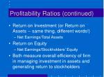 profitability ratios continued25
