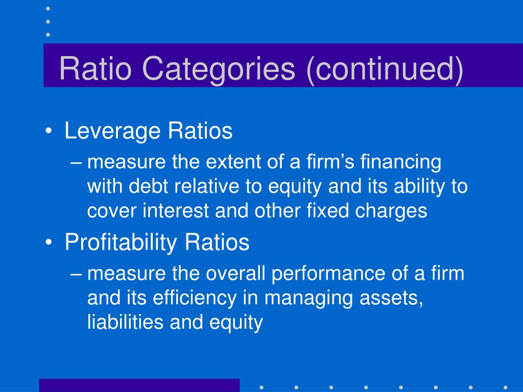 Ratio Categories (continued)