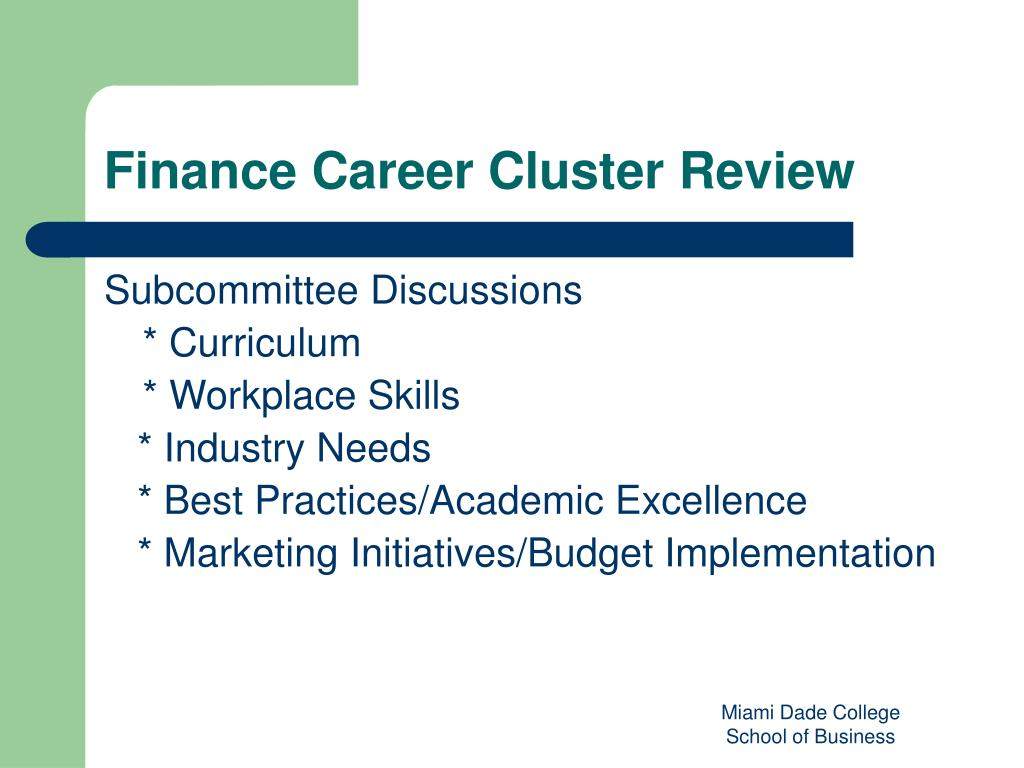 Finance Career Cluster Review