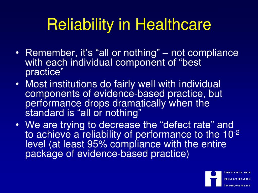 Reliability in Healthcare