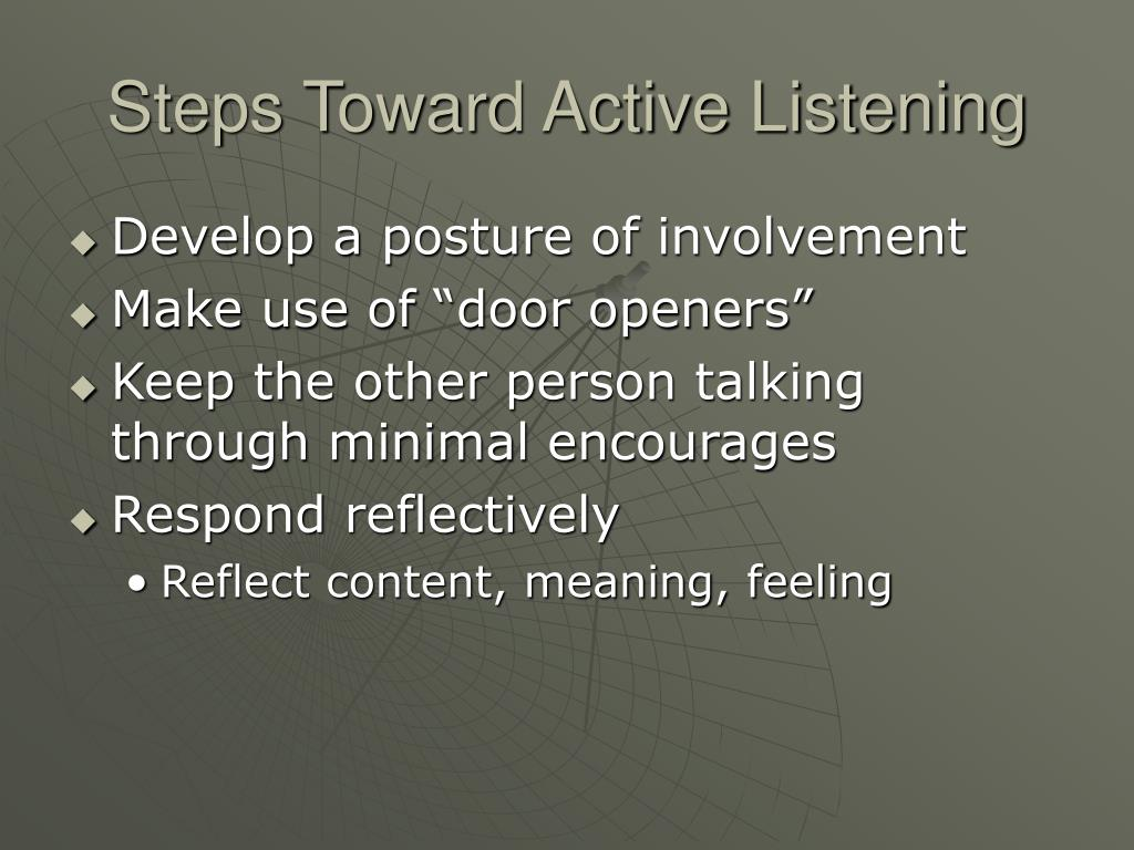 Steps Toward Active Listening