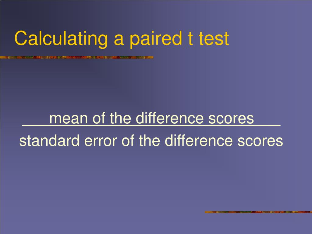 Calculating a paired t test