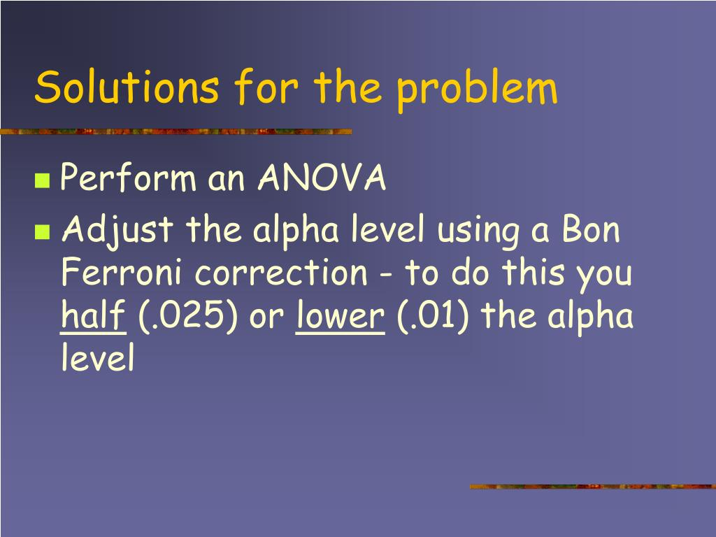 Solutions for the problem