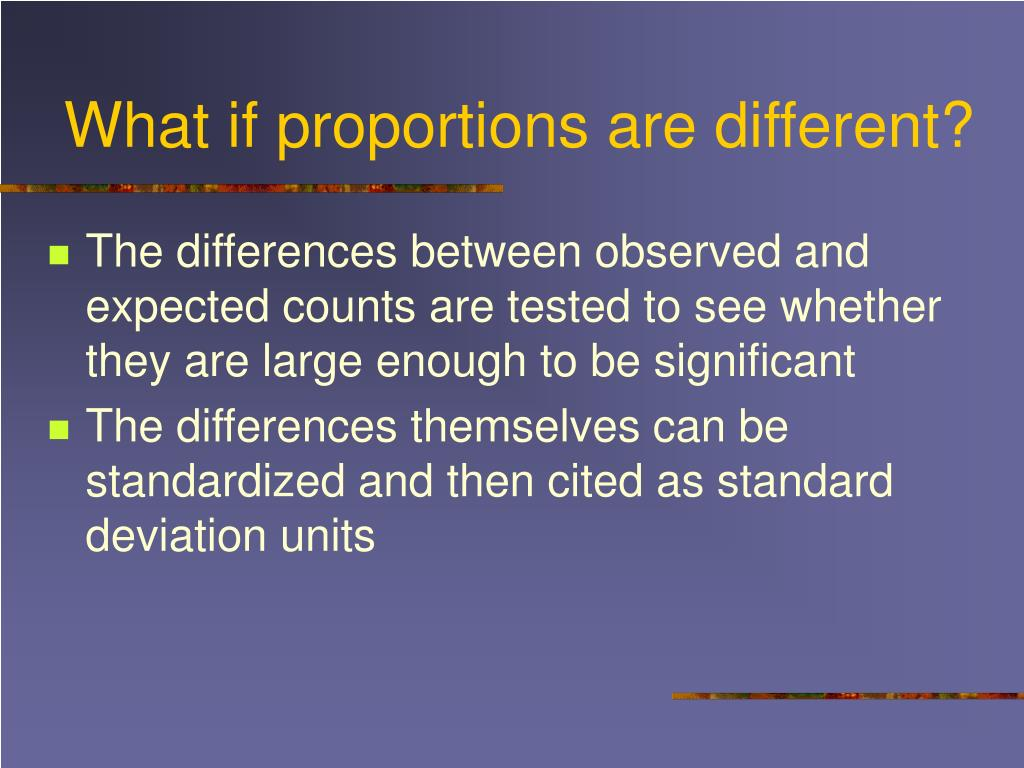 What if proportions are different?