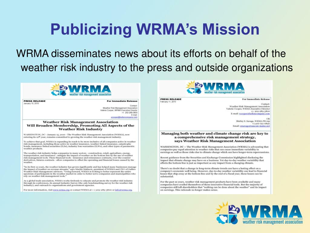 Publicizing WRMA's Mission