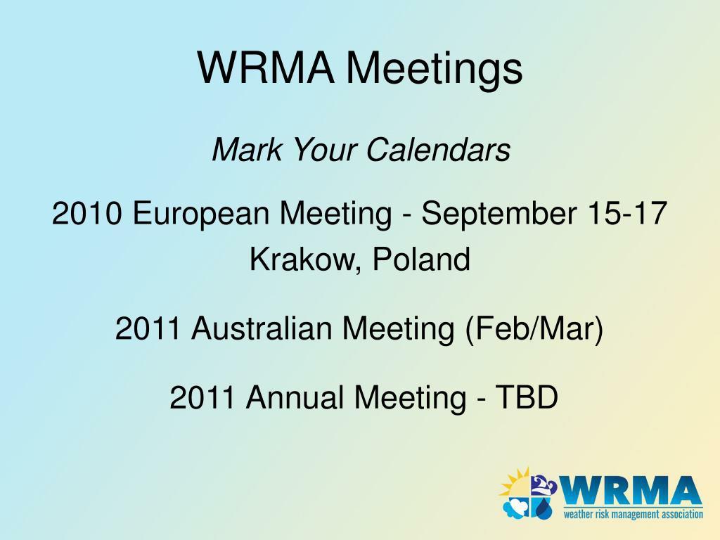 WRMA Meetings