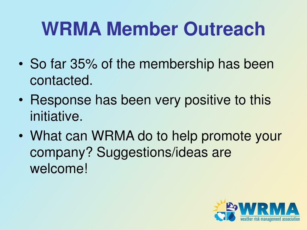 WRMA Member Outreach
