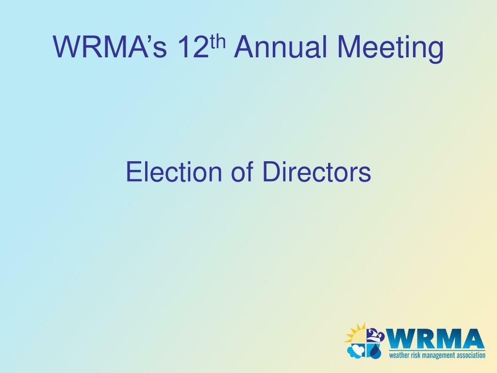 WRMA's 12